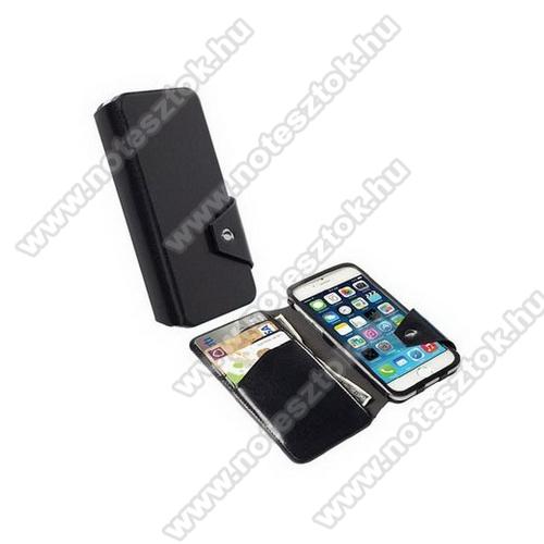 APPLE iPhone 6KRUSELL FlipWallet KALMAR notesz / flip tok - álló, bőr, mágneses záródás, oldalra nyíló, bankkártya méretű tartó - FEKETE - 76019 - APPLE iPhone 6 - GYÁRI