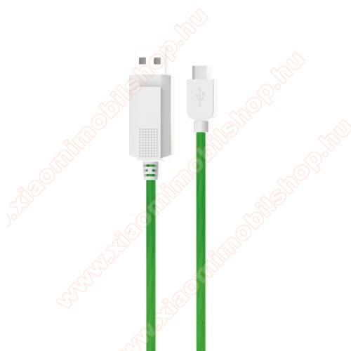 KUCIPA Luminous 2A adatátvitel adatkábel / USB töltő - USB / Type-C, 1m - sötétben világít - ZÖLD