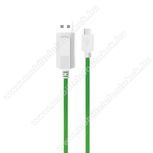 Google Pixel 3KUCIPA Luminous 2A adatátvitel adatkábel / USB töltő - USB / Type-C, 1m - sötétben világít - ZÖLD