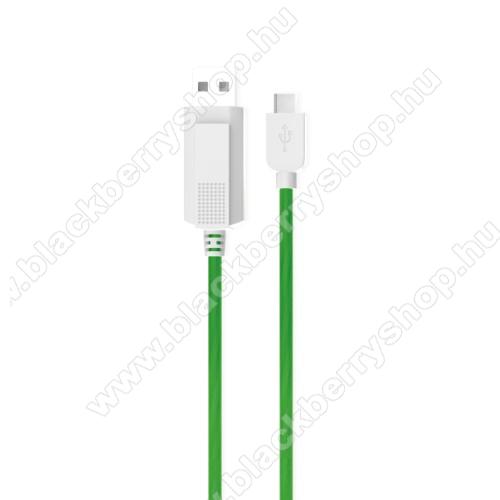 BLACKBERRY MotionKUCIPA Luminous 2A adatátvitel adatkábel / USB töltő - USB / Type-C, 1m - sötétben világít - ZÖLD