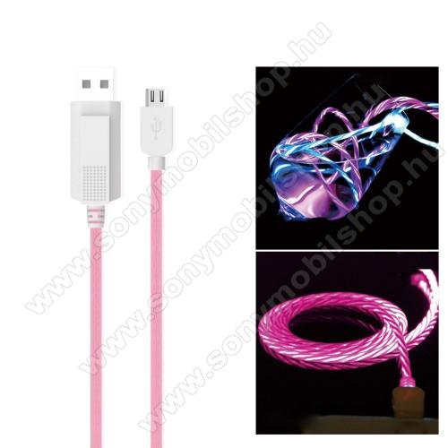 KUCIPA Luminous 2A adatátvitel adatkábel / USB töltő - USB / microUSB, 1m - sötétben világít - RÓZSASZÍN