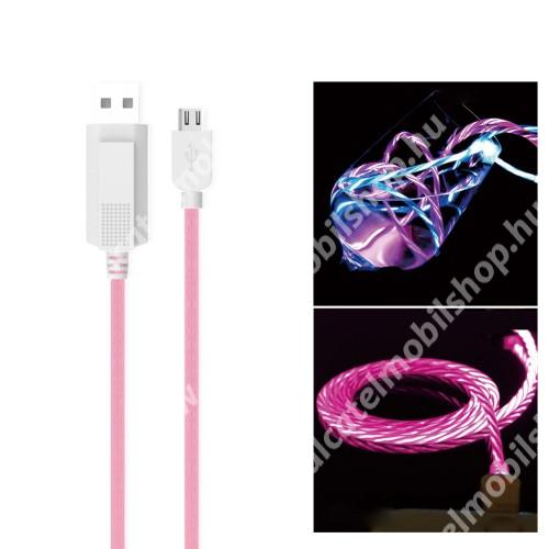 Alcatel OT-810D KUCIPA Luminous 2A adatátvitel adatkábel / USB töltő - USB / microUSB, 1m - sötétben világít - RÓZSASZÍN