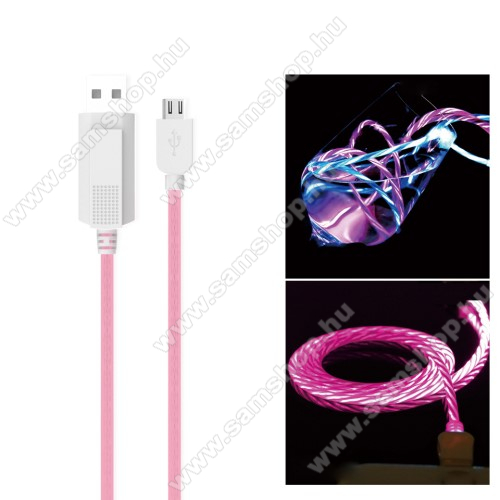 SAMSUNG GT-S7500 Galaxy Ace PlusKUCIPA Luminous 2A adatátvitel adatkábel / USB töltő - USB / microUSB, 1m - sötétben világít - RÓZSASZÍN