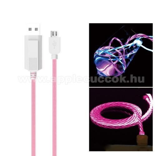 KUCIPA Luminous 2A adat�tvitel adatk�bel / USB t�lt? - USB / microUSB, 1m - s�t�tben vil�g�t - R�ZSASZ�N