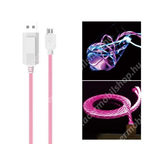 ASUS Zenfone Live (L1) (ZA550KL) KUCIPA Luminous 2A adatátvitel adatkábel / USB töltő - USB / microUSB, 1m - sötétben világít - RÓZSASZÍN