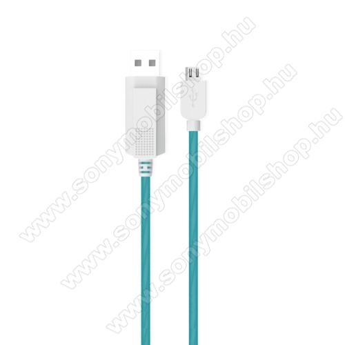 SONY Xperia Acro S (LT26w)KUCIPA Luminous 2A adatátvitel adatkábel / USB töltő - USB / microUSB, 1m - sötétben világít - KÉK