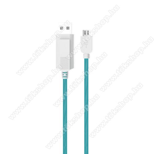 Vodafone Tab Prime 6KUCIPA Luminous 2A adatátvitel adatkábel / USB töltő - USB / microUSB, 1m - sötétben világít - KÉK