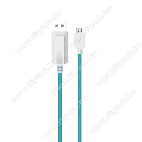 OPPO R17KUCIPA Luminous 2A adatátvitel adatkábel / USB töltő - USB / microUSB, 1m - sötétben világít - KÉK