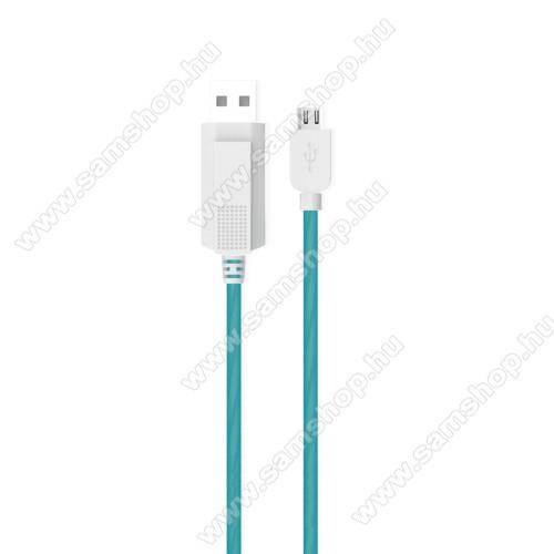 SAMSUNG GT-S7500 Galaxy Ace PlusKUCIPA Luminous 2A adatátvitel adatkábel / USB töltő - USB / microUSB, 1m - sötétben világít - KÉK