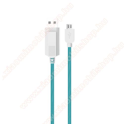 KUCIPA Luminous 2A adatátvitel adatkábel / USB töltő - USB / microUSB, 1m - sötétben világít - KÉK
