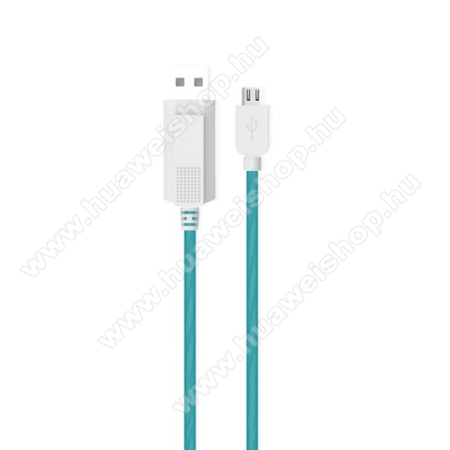 Huawei Ascend P2KUCIPA Luminous 2A adatátvitel adatkábel / USB töltő - USB / microUSB, 1m - sötétben világít - KÉK