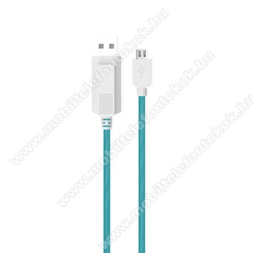 ALCATEL 7KUCIPA Luminous 2A adatátvitel adatkábel / USB töltő - USB / microUSB, 1m - sötétben világít - KÉK