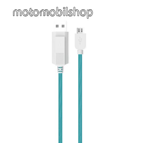 MOTOROLA DROID Ultra KUCIPA Luminous 2A adatátvitel adatkábel / USB töltő - USB / microUSB, 1m - sötétben világít - KÉK