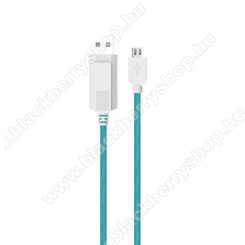 BLACKBERRY 9650 BoldKUCIPA Luminous 2A adatátvitel adatkábel / USB töltő - USB / microUSB, 1m - sötétben világít - KÉK