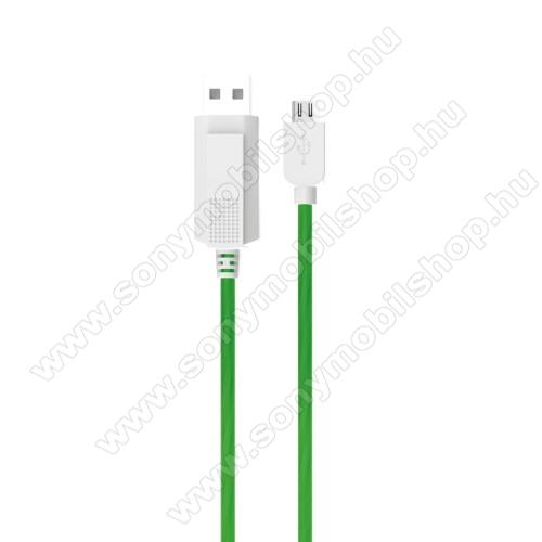 SONY Xperia T2 UltraKUCIPA Luminous 2A adatátvitel adatkábel / USB töltő - USB / microUSB, 1m - sötétben világít - ZÖLD