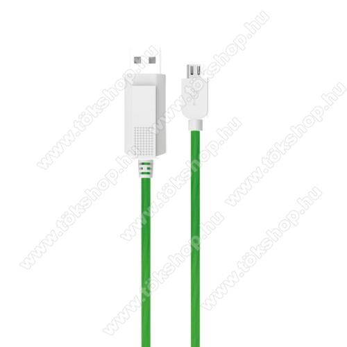 Vodafone Smart 4 miniKUCIPA Luminous 2A adatátvitel adatkábel / USB töltő - USB / microUSB, 1m - sötétben világít - ZÖLD