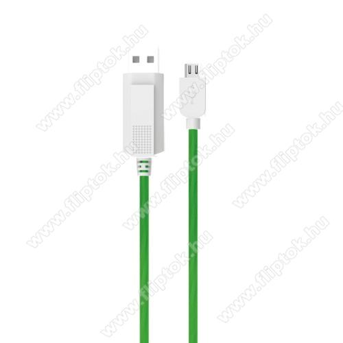 OPPO R17KUCIPA Luminous 2A adatátvitel adatkábel / USB töltő - USB / microUSB, 1m - sötétben világít - ZÖLD