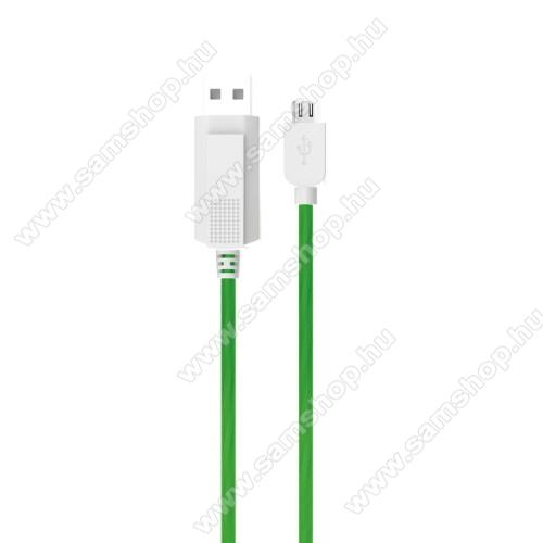 SAMSUNG Galaxy S Giorgio Armani (GT-I9010)KUCIPA Luminous 2A adatátvitel adatkábel / USB töltő - USB / microUSB, 1m - sötétben világít - ZÖLD