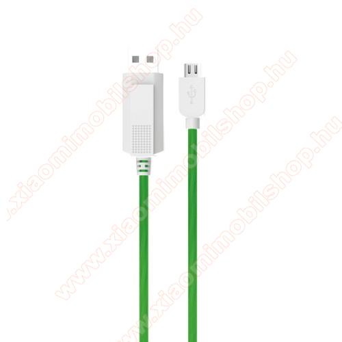 Xiaomi Redmi 2KUCIPA Luminous 2A adatátvitel adatkábel / USB töltő - USB / microUSB, 1m - sötétben világít - ZÖLD