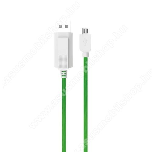 ASUS Fonepad 7 (ME372CL / ME175CG)KUCIPA Luminous 2A adatátvitel adatkábel / USB töltő - USB / microUSB, 1m - sötétben világít - ZÖLD
