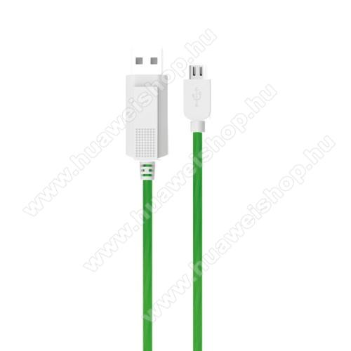 HUAWEI T-Mobile Vairy Text II.KUCIPA Luminous 2A adatátvitel adatkábel / USB töltő - USB / microUSB, 1m - sötétben világít - ZÖLD