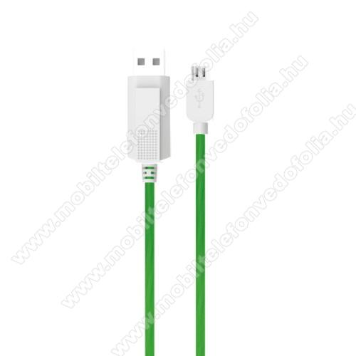 OPPO F7 YouthKUCIPA Luminous 2A adatátvitel adatkábel / USB töltő - USB / microUSB, 1m - sötétben világít - ZÖLD