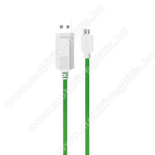 ALCATEL 1V (2020) (OT-5007U / OT-5007G / OT-5007A)KUCIPA Luminous 2A adatátvitel adatkábel / USB töltő - USB / microUSB, 1m - sötétben világít - ZÖLD