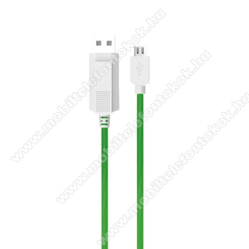 Meizu M5cKUCIPA Luminous 2A adatátvitel adatkábel / USB töltő - USB / microUSB, 1m - sötétben világít - ZÖLD