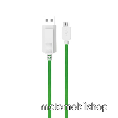 MOTOROLA DROID Ultra KUCIPA Luminous 2A adatátvitel adatkábel / USB töltő - USB / microUSB, 1m - sötétben világít - ZÖLD