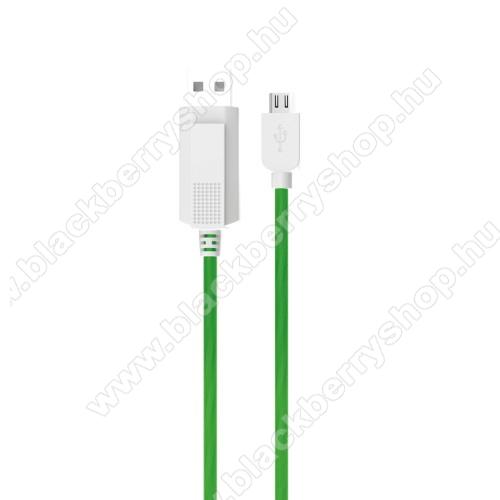 BLACKBERRY 9650 BoldKUCIPA Luminous 2A adatátvitel adatkábel / USB töltő - USB / microUSB, 1m - sötétben világít - ZÖLD