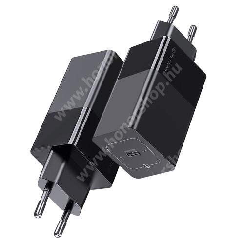 HUAWEI Honor V40 5G KUULAA KL-O123 GaN hálózati töltő - Type-C aljzat, 65W, 12V/3A max, PD gyorstöltés támogatás, kábel nélkül! - FEKETE - GYÁRI
