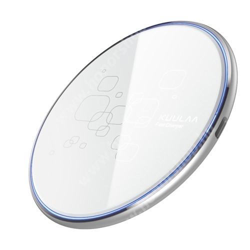 HUAWEI Honor V40 5G KUULAA QI Wireless hálózati töltő állomás vezeték nélküli töltéshez - 15W csúszásgátló, Type-C töltőport, fogadóegység nélkül! - FEHÉR - KL-CD14 - GYÁRI