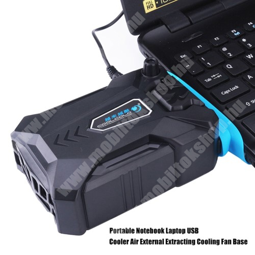 HomTom C2 Laptop hűtőventilátor - forgási sebesség: 1500-3000 RPM, 60cm tápkábel, 75mm x 85mm x 43mm - FEKETE