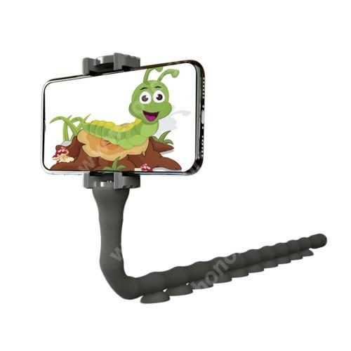HUAWEI Honor 10 Lazy Stand UNIVERZÁLIS asztali telefontartó - kukac design, 55-90mm-ig állítható bölcsővel - FEKETE