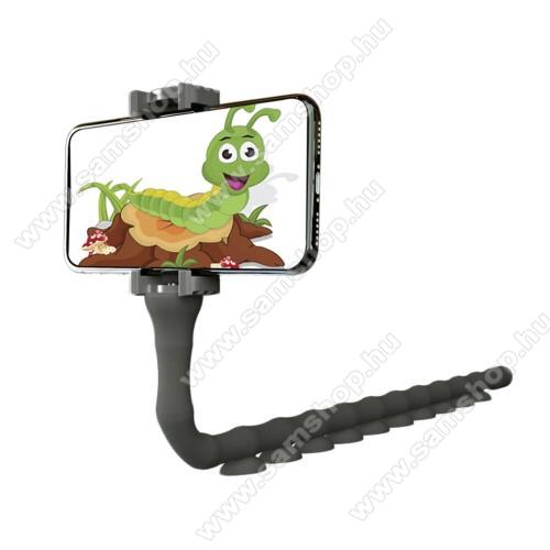 SAMSUNG SGH-i607 BlacLazy Stand UNIVERZÁLIS asztali telefontartó - kukac design, 55-90mm-ig állítható bölcsővel - FEKETE