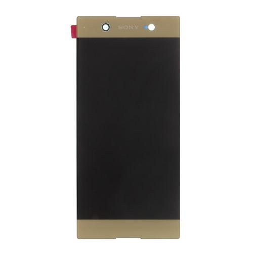 LCD kijelző - ARANY - komplett plexi ablak érintő panellel, KERET NÉLKÜL! - SONY Xperia XA1 Ultra (G3221 / G3223 / G3212 / G3226) - GYÁRI