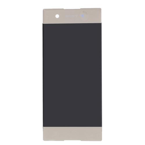 LCD kijelző - ARANY - komplett plexi ablak érintő panellel, KERET NÉLKÜL! - Sony Xperia XA1 - GYÁRI