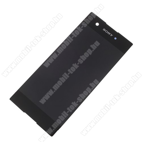 LCD kijelző - FEKETE - komplett plexi ablak érintő panellel, KERET NÉLKÜL! - Sony Xperia XA1 - GYÁRI