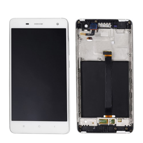 LCD kijelző komplett panel, előlap kerettel - FEHÉR - Xiaomi Mi 4 - GYÁRI