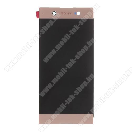 LCD kijelző - ROSE GOLD - komplett plexi ablak érintő panellel, KERET NÉLKÜL! - SONY Xperia XA1 Ultra (G3221 / G3223 / G3212 / G3226) - GYÁRI