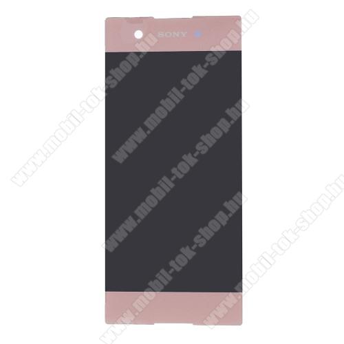 LCD kijelző - ROSE GOLD - komplett plexi ablak érintő panellel, KERET NÉLKÜL! - Sony Xperia XA1 - GYÁRI