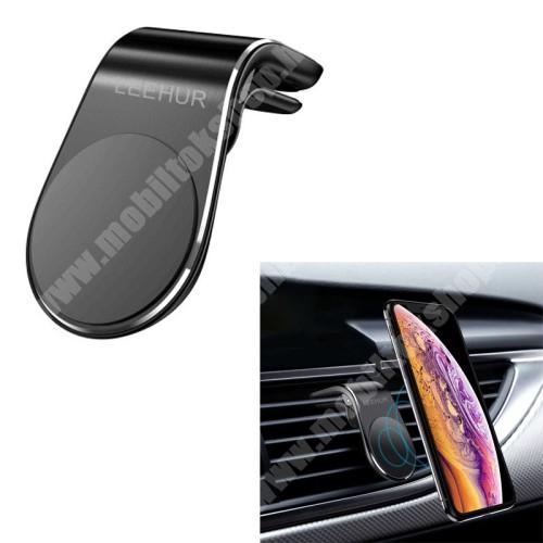 Meizu Pro 5 LEEHUR Magnetic autós / gépkocsi tartó - mágneses, szellőzőrácsra rögzíthető - FEKETE - GYÁRI