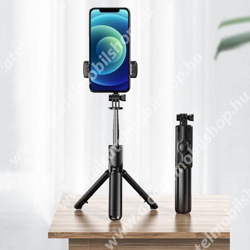 ALCATEL OTE 301 LEMONDA teleszkópos selfie bot és tripod állvány - BLUETOOTH KIOLDÓVAL, 360 fokban forgatható, összecsukható, max 65cm hosszú nyél - FEKETE