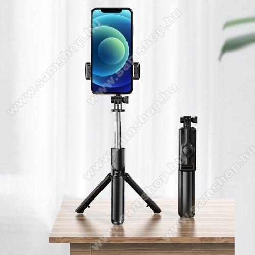 SAMSUNG GT-B3210 Corby TXTLEMONDA teleszkópos selfie bot és tripod állvány - BLUETOOTH KIOLDÓVAL, 360 fokban forgatható, összecsukható, max 65cm hosszú nyél - FEKETE