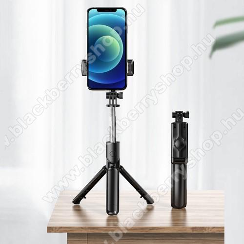 BLACKBERRY 8800LEMONDA teleszkópos selfie bot és tripod állvány - BLUETOOTH KIOLDÓVAL, 360 fokban forgatható, összecsukható, max 65cm hosszú nyél - FEKETE