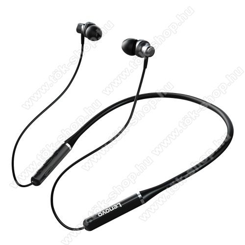 LENOVO HE05 BLUETOOTH fülhallgató SZTEREO - v5.0, nyakba akasztható, mikrofon, felvevő és hangerőszabályzó gombok, IPX5 vízállóság, mágneses, max. 8 óra zenehallgatási idő, 105mAh akkumulátor - FEKETE - GYÁRI
