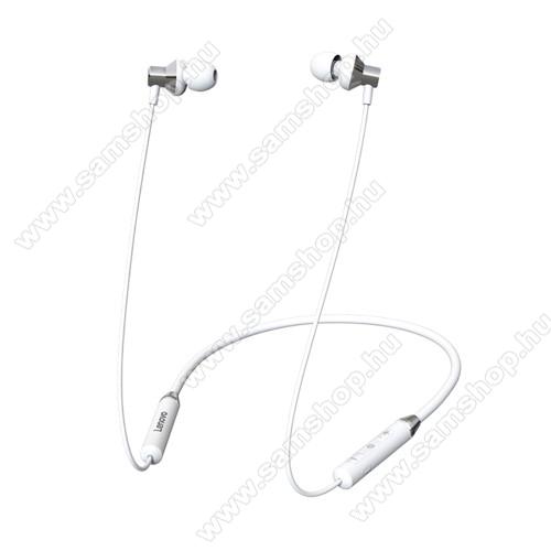 LENOVO HE05 BLUETOOTH fülhallgató SZTEREO - v5.0, nyakba akasztható, mikrofon, felvevő és hangerőszabályzó gombok, IPX5 vízállóság, mágneses, max. 8 óra zenehallgatási idő, 105mAh akkumulátor - FEHÉR - GYÁRI