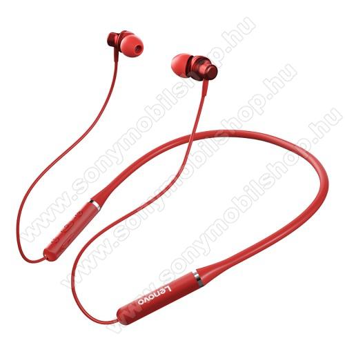 LENOVO HE05 BLUETOOTH fülhallgató SZTEREO - v5.0, nyakba akasztható, mikrofon, felvevő és hangerőszabályzó gombok, IPX5 vízállóság, mágneses, max. 8 óra zenehallgatási idő, 105mAh akkumulátor - PIROS - GYÁRI