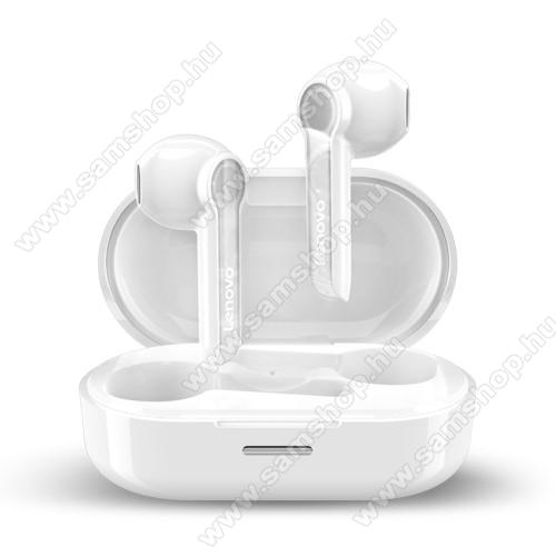 LENOVO HT08 TWS SZTEREO BLUETOOTH HEADSET - v5.0, érintéssel vezérelhető, mikrofon, zajszűrő, támogatja az fülhallgató külön használatát, 4 óra zenehallgatási idő, 300mAh töltőtok - FEHÉR - GYÁRI