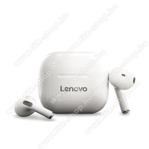 LENOVO LivePods LP40 SZTEREO BLUETOOTH HEADSET - FEHÉR - v5.0, mikrofon, érintéssel vezérelhető, zajszűrő, cseppálló, Type-C töltőaljzat, 3 óra zenehallgatási idő, 300mAh töltőtok - GYÁRI